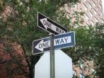 Two_'ONE_WAY'_traffic_signs,_Manhattan,_New_York_City,_New_York_-_20081004